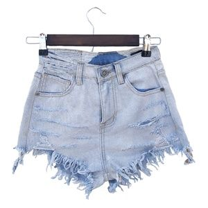 UNIF High Waisted Hyper Distressed Shorts SZ 24